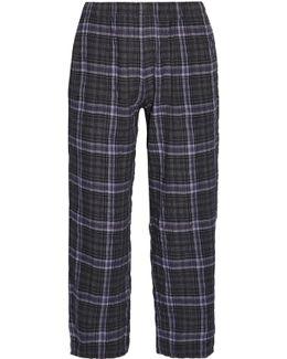 Donna Plaid Stretch Cotton-gauze Pajama Pants