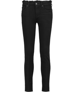 The Skinny Crop Frayed Mid-rise Jeans