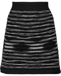 Paneled Mesh And Stretch-knit Mini Skirt