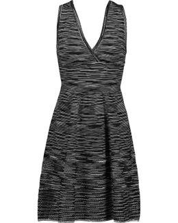 Open Knit-paneled Striped Stretch-knit Mini Dress