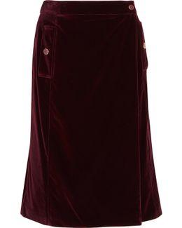 Aydee Cotton-blend Velvet Wrap Skirt