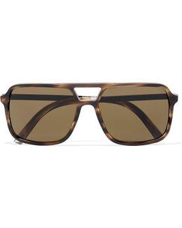 Square-frame Tortoiseshell Matte-acetate Sunglasses