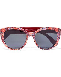 Cat-eye Floral-print Acetate Sunglasses