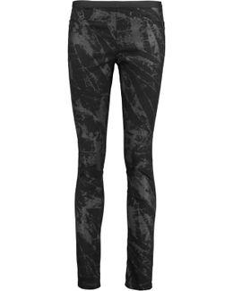 Printed Twill Skinny Pants