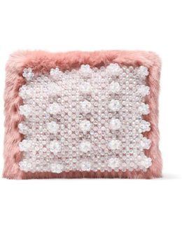 Candy Embellished Faux Fur Clutch