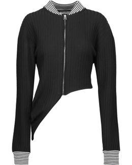 Asymmetric Ribbed Stretch-wool Cardigan