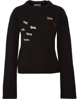 Brooch-embellished Merino Wool Sweater