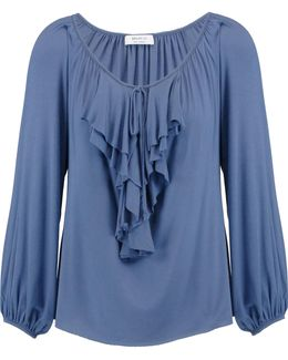 Ruffle-trimmed Stretch-jersey Top