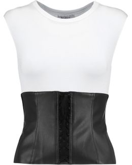Lace-up Faux Leather-trimmed Jersey Top