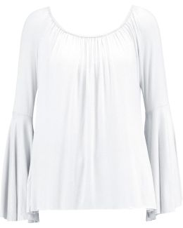 Off-the-shoulder Gathered Jersey Top