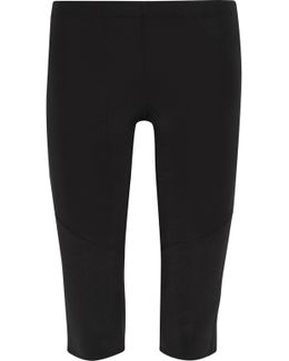 Cropped Mesh-trimmed Stretch-jersey Leggings
