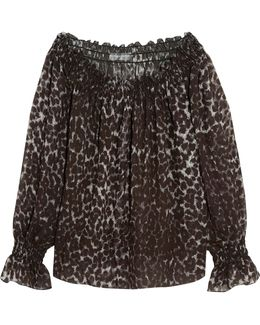 Off-the-shoulder Leopard-print Chiffon Top
