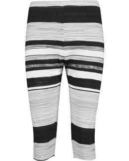 Cropped Striped Stretch-jersey Leggings