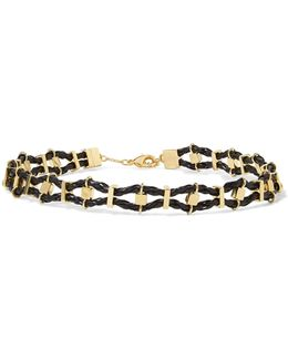 Viper Gold-tone And Leather Choker