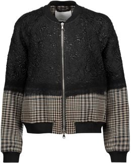 Paneled Cloqué And Houndstooth Wool-tweed Bomber Jacket