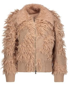Faux Fur-paneled Knitted Jacket