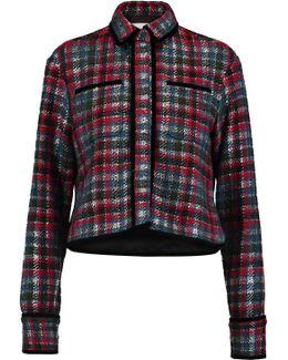 Velvet-trimmed Wool-blend Jacquard Jacket