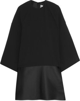 Lulu Paneled Plissé-crepe And Satin Mini Dress