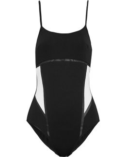 Kosmos Two-tone Mesh-trimmed Stretch Swimsuit