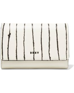 Striped Textured And Smooth Leather Wallet