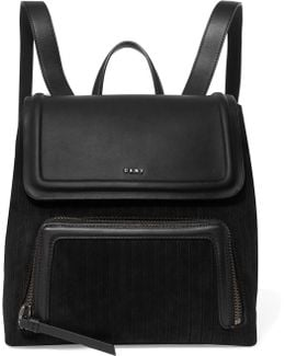 Leather And Pinstriped Suede Backpack