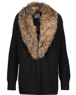 Evina Faux Fur-trimmed Wool And Cashmere-blend Cardigan