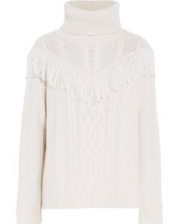 Fringed Cable-knit Turtleneck Sweater