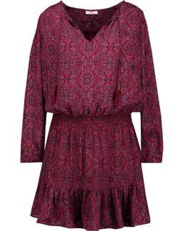 Kleeia Tasseled Printed Washed-silk Mini Dress