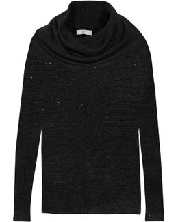 Mildred Sequin-embellished Draped Open-knit Sweater