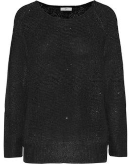 Emari Sequin-embellished Stretch-knit Sweater