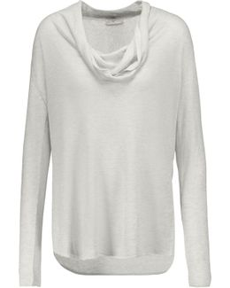 Mikkeline Draped Metallic Stretch-knit Sweater