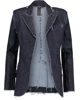 Frayed Denim Blazer
