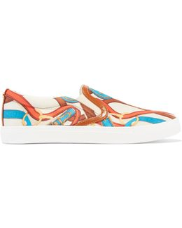 Pixie Faux Leather-trimmed Printed Satin Sneakers