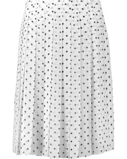Lewdill Pleated Polka-dot Silk-georgette Skirt