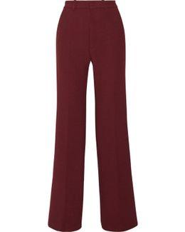 Fergus Satin-trimmed Stretch-twill Wide-leg Pants