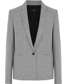 Button Cuff Wool-blend Blazer