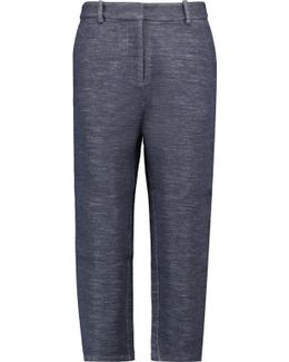 Cropped Wool And Cotton-blend Straight-leg Pants