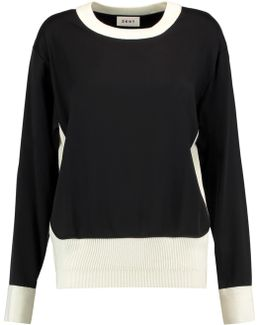 Ribbed-knit Trimmed Jersey Sweater