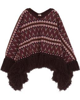 Fringed Jacquard-knit Wool Poncho