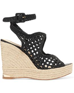 Sarah Woven Leather Espadrille Wedge Sandals