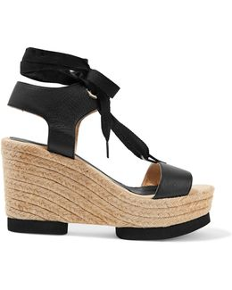 Carla Lace-up Leather Wedge Sandals