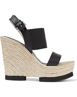 Claudia Leather And Stretch-knit Wedge Sandals