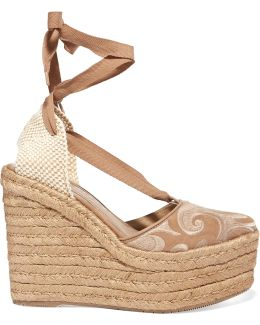Dali Embroidered Suede Espadrille Wedge Sandals