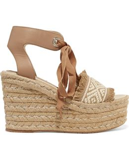 Elsa Leather-trimmed Woven Espadrille Wedge Sandals
