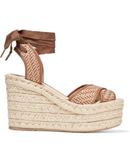 Woven Leather Wedge Espadrille Sandals