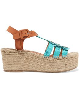 Honoria Cracked And Smooth Leather Espadrille Wedge Sandals