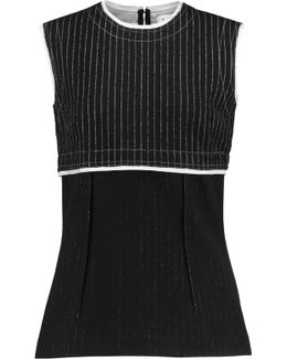 Paneled Pinstriped Wool-blend Top