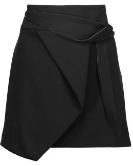 Wrap-effect Draped Stretch-crepe Mini Skirt