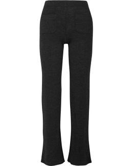 Ribbed Wool-blend Bootcut Pants