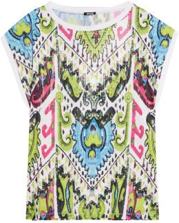 Printed Sequined Stretch-jersey Top